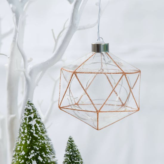 LED Light Up Glitter Copper Geometric Bauble