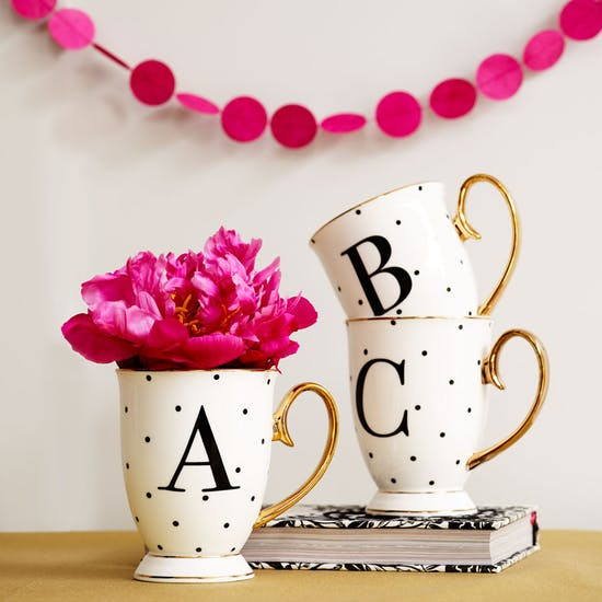 Black And White Spotty China Letter Mug
