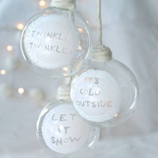 Glass Snowy Phrase Baubles