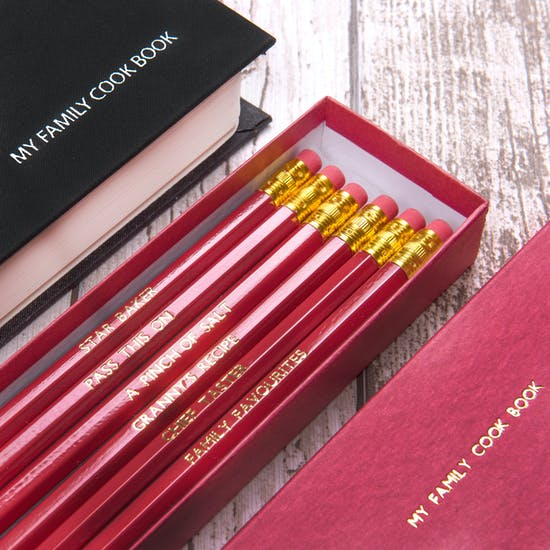 Personalised My Family Cookbook With Pencils