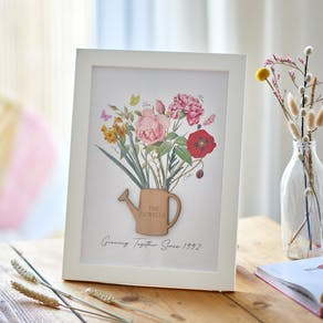 3D Family Birth Flower Framed Print