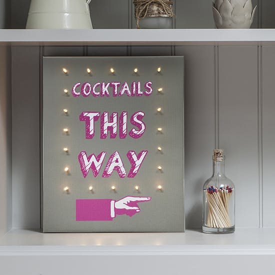 Alcohol This Way Illuminated Canvas