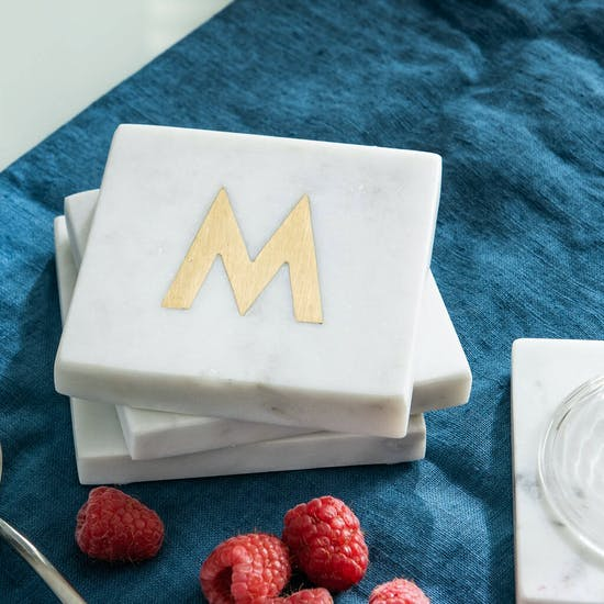 Alphabet Gold Initial Marble Coasters