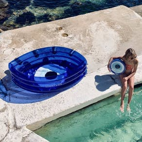 Blue Eye Inflatable Pool With Gold Lashes