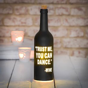 Black Typographic LED Light Bottle