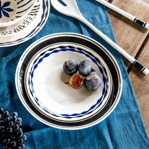 Blue Black Hand Painted Plates