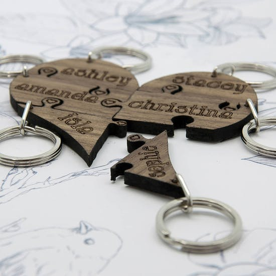 Bridesmaid Heart Jigsaw Wooden Keyring Set