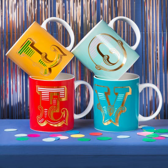 Bright Circus Font Letter Mugs