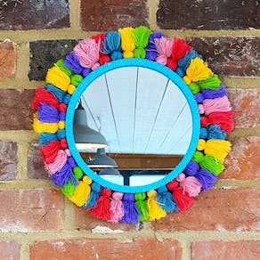 Bright Pom Pom Tasseled Mirror