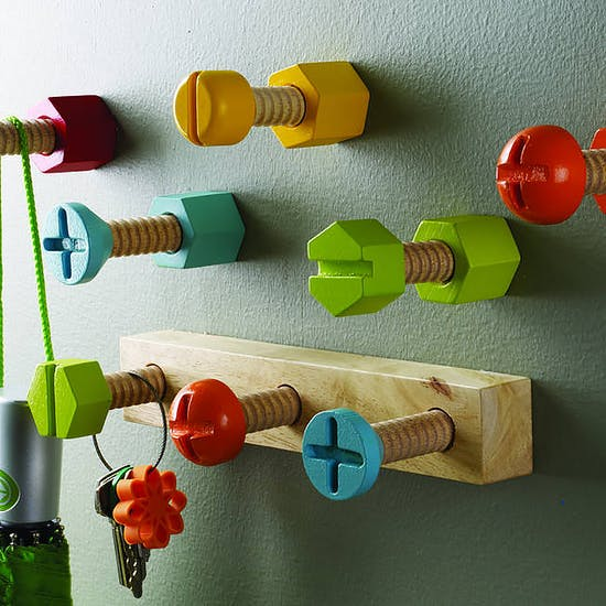 Bright Wooden Screw Style Hook