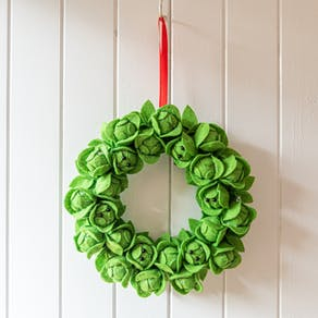 Brussels Sprout Felt Christmas Wreath