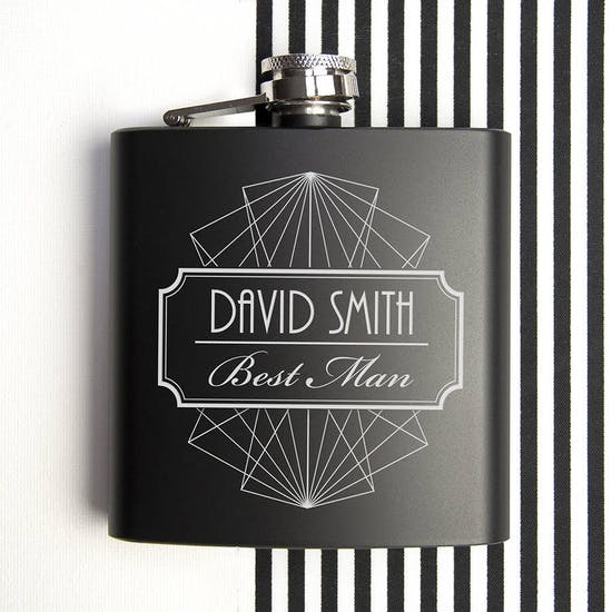 Best Man Black Matte Hip Flask