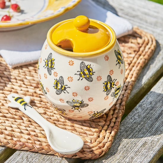 Busy Bee Honey Jar And Spoon