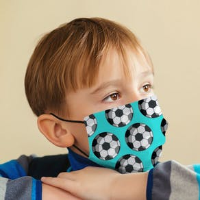 Childs Football Patterned Face Mask