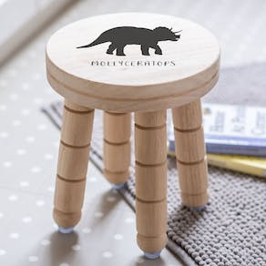 Childs Personalised Dinosaur Wooden Stool