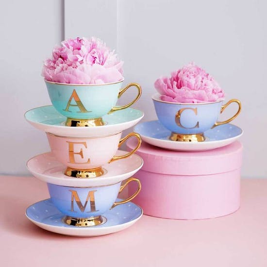 China Letter Cup And Saucer Set