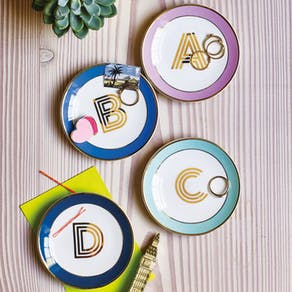 China Monogram Trinket Dish Letters