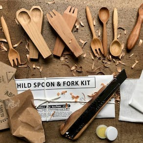 Cherry Wood Childs Spoon And Fork Carving Kit