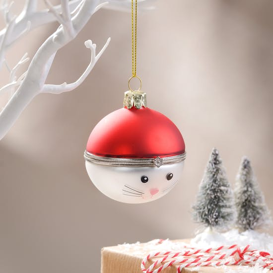 Christmas Cat Locket Style Bauble