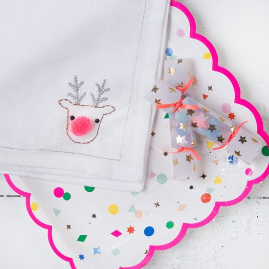 Christmas Reindeer Linen Napkin With Embroidery