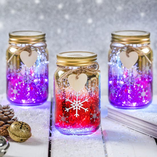 2d384f57 Christmas Snowflake LED Ombre Jar