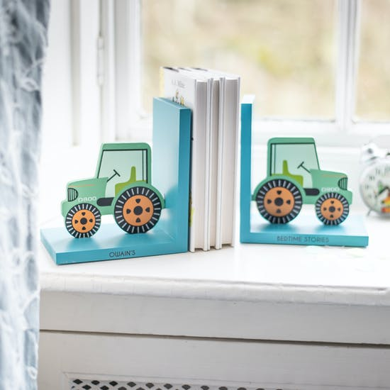Personalised Green Tractor Bookends