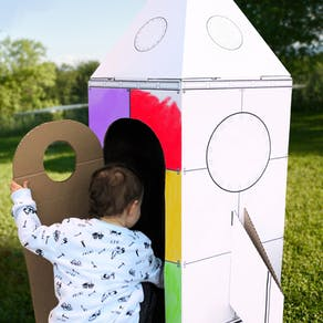 Colour In Cardboard Rocket Playhouse