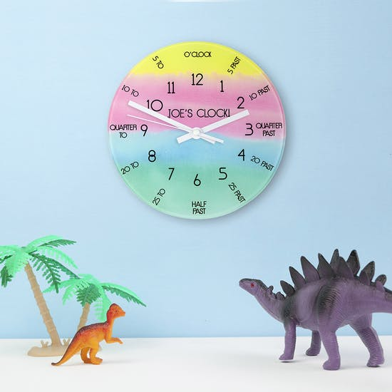 Personalised I can tell the time clock with dinosaur figures