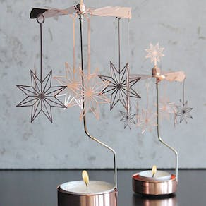 Copper Star Rotary Candle Holder
