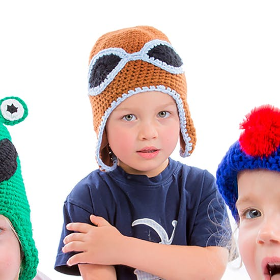 Crocheted Flying Hat With Matching Egg Cosy