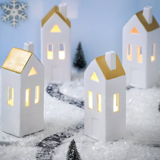 Ceramic LED White And Metallic House