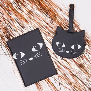 Cat Face Passport Holder And Tag Set