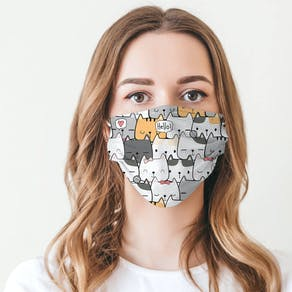 Cute Cat Lady Fabric Face Mask