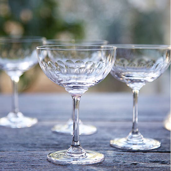 Set Of Cut Glass Champagne Coupe Saucers