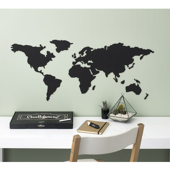 World Map Chalkboard