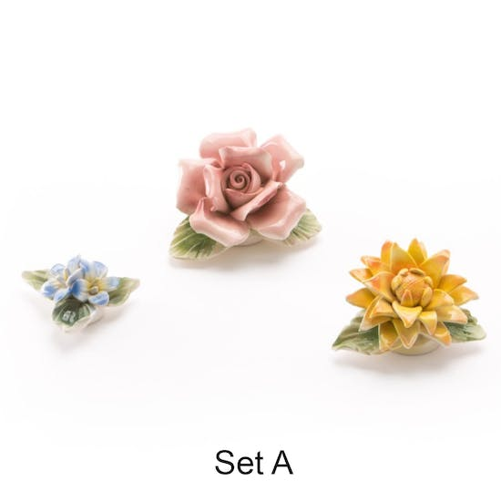 Delicate Porcelain Flower Magnets Set Of Three