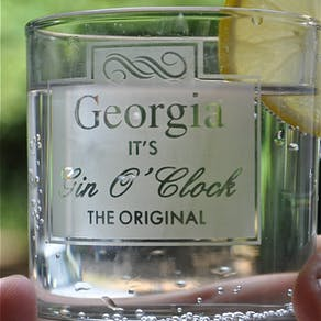 Personalised 'Gin O Clock' Etched Glass