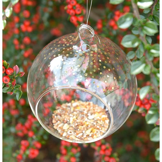 Glass Bauble Bird Feeder