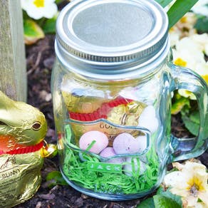 Chocolate Easter Bunny in a Mason Jar