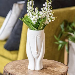 Elegant Design Face Hands Vase In White