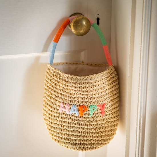 Embroidered Happy Woven Straw Bag