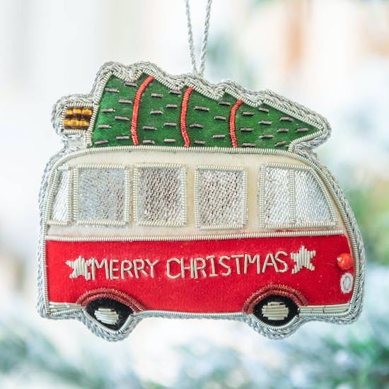 Embroidered Camper Van Christmas Decoration