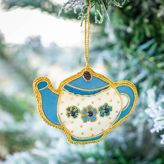 Embroidered Teapot Christmas Decoration