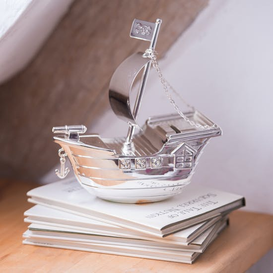 Engraved Pirate Ship Money Box