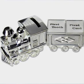 Engraved Train Moneybox With Tooth And Curl Carriage
