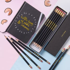 Black Personalised Pencils And Notepad