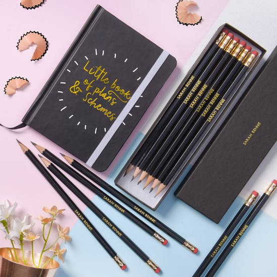 Executive Black Personalised Pencils And Notepad