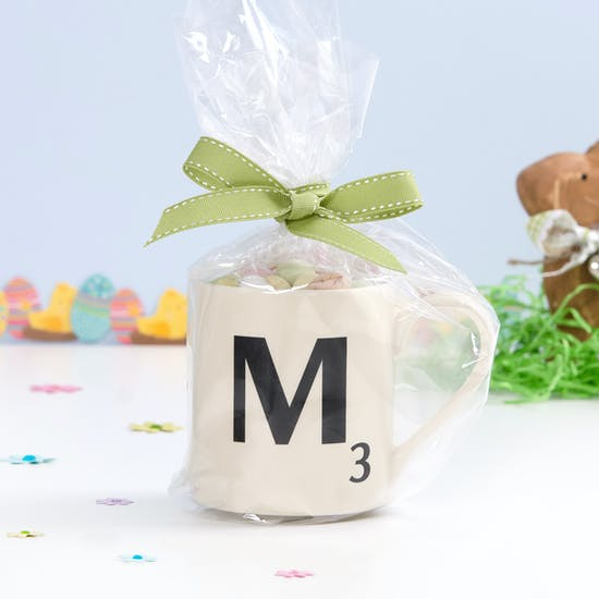 Scrabble Mug With Speckled Eggs
