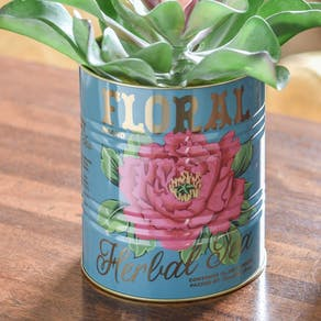 Set Of Two Floral Metal Tins