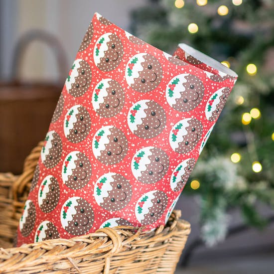 Festive Christmas Pudding Gift Wrap